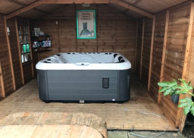 hot tub in shed