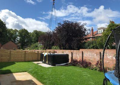 craned to garden